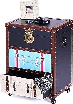 ts-ideen Mobiletto Comodino Stile Funky Vintage 3 cassetti con Rotelle