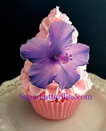 Edible Wafer Purple Hibiscus Flowers Cake Decorations Cupcake