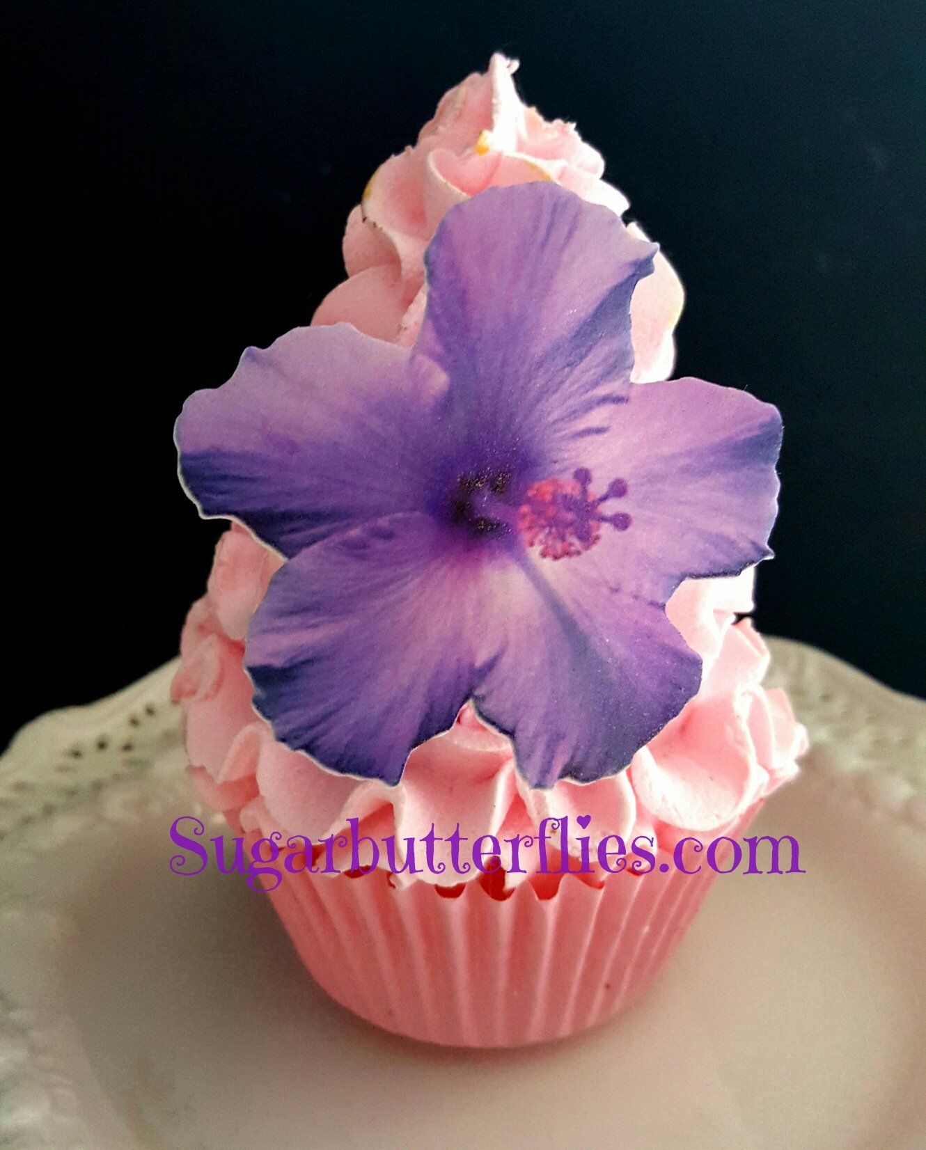 Edible Wafer Pink Hibiscus Flowers Cake Decorations Cupcake Toppers