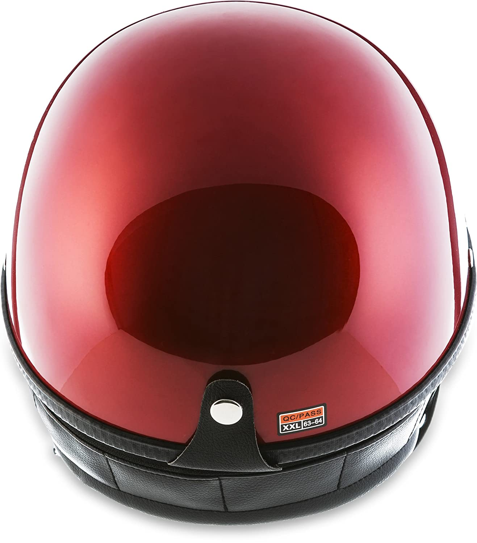 chopper R/étro Vintage Avec housse en plastique Moto Helmets D22-Mono/Braincap Casque demi-coque de moto casque Pilot Cruiser Scooter de scooter Vespa v/élo mobylette