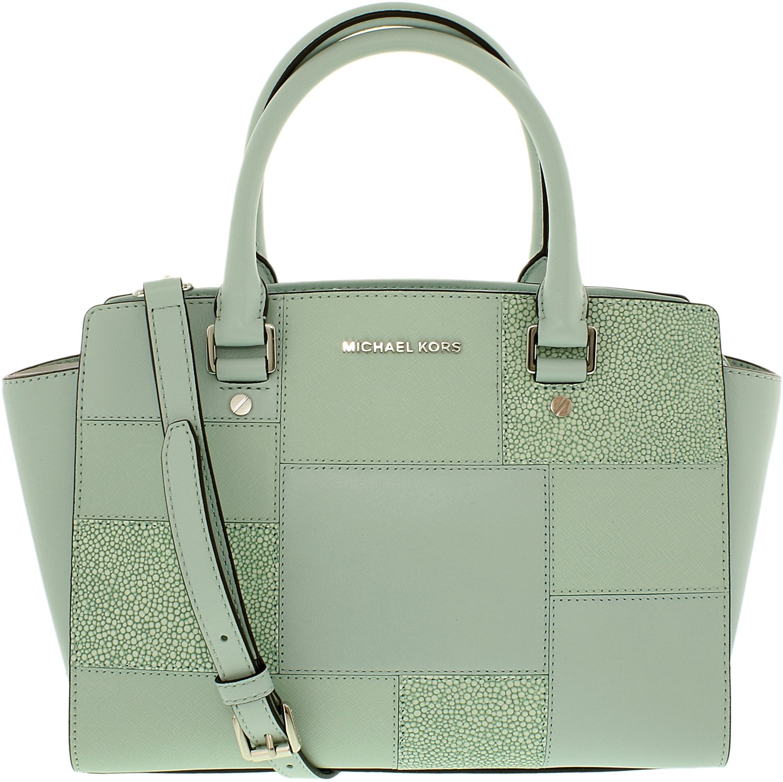 MICHAEL Michael Kors Womens Selma Leather Embossed Satchel Handbag Green Medium