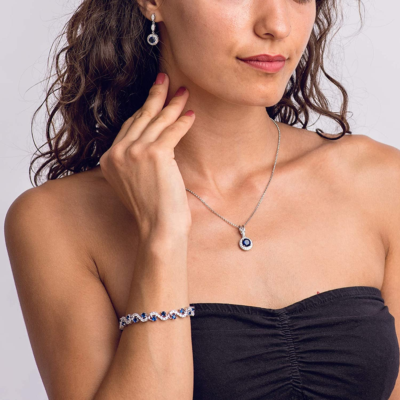 Blauer simulierter Saphir /Österreichische Zirkonia Kristalle Rund Schmuck-Set Halskette Anh/änger 45 cm Ohrringe Armband 18 kt Vergoldet