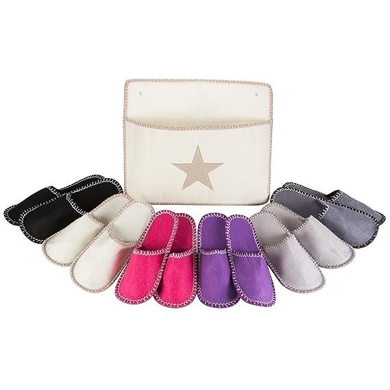 Levivo Set de zapatillas de estar por casa para invitados, 13 piezas: 6 pares de pantuflas para invitados de fieltro en 3 tamaños diferentes y una ...