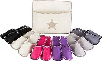 Levivo Set de zapatillas de estar por casa para invitados, 13 piezas: 6 pares de pantuflas de fieltro en 3 tamaños y bolsa de almacenamiento, buen calidad