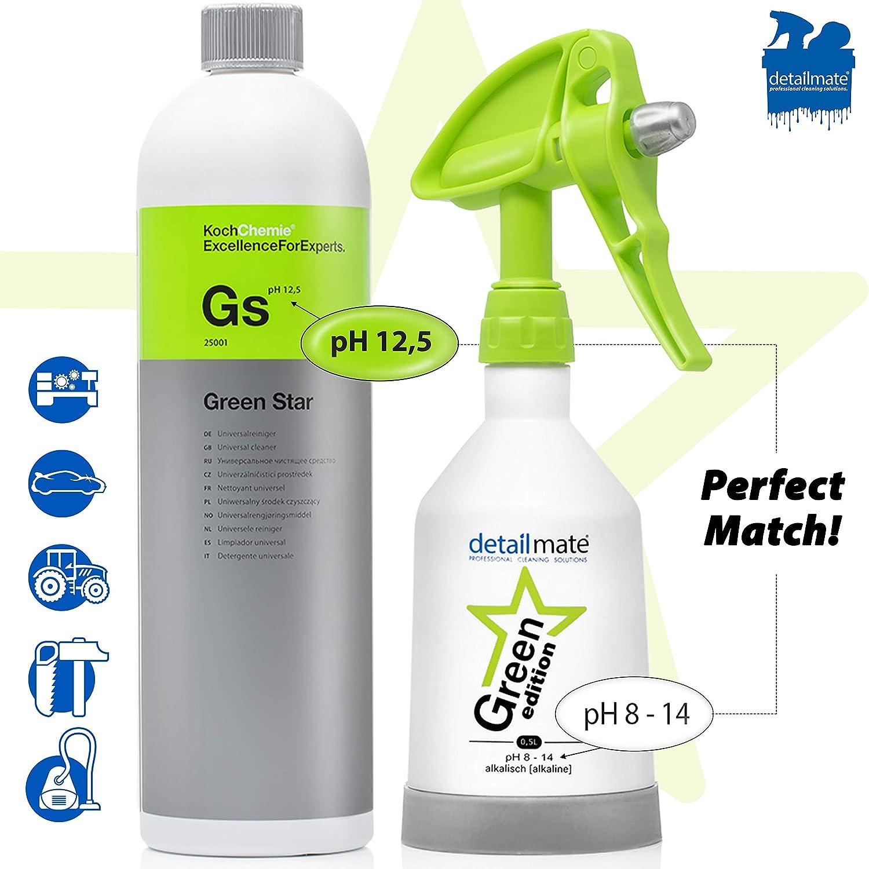 detailmate Set – Koch Chemie Green Star Limpiador Universal 1 L Fabricado por Kwazar Mercury Super Pro + 360 Grados Botella pulverizadora. Double Action Trigger - Jarra medidora (1 L, 50 ml)