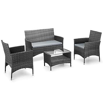 VonHaus  Piece Rattan Sofa Set - Cushioned Grey Outdoor Furniture