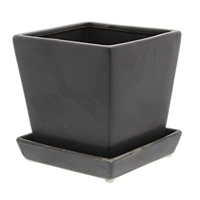 "Solid Black Cube Ceramic Planter Pot (4"" Tapered) : Garden & Outdoor"