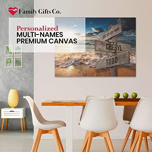FAMILY GIFTS CO. Ocean Sunset Color Multi Names Premium Canva