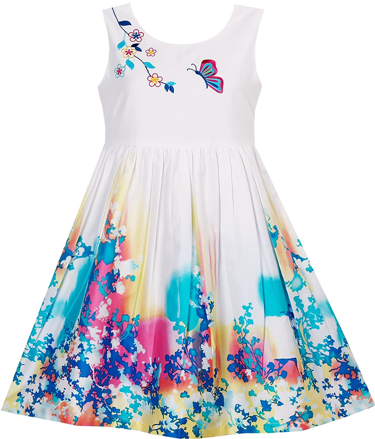 Sunny Fashion Girls Dress Butterfly Seeking Flower Embroidery Chinese Style