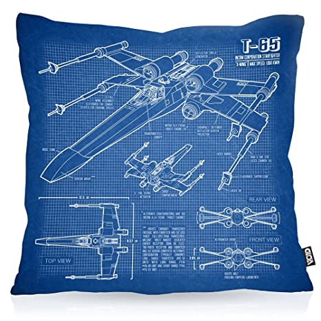 VOID X-Wing Cianotipo Cojín con Dibujo Funda de cojín Funda ...