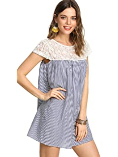 SheIn Womens Casual Lace Patchwork Cap Sleeve Striped Swing Dress