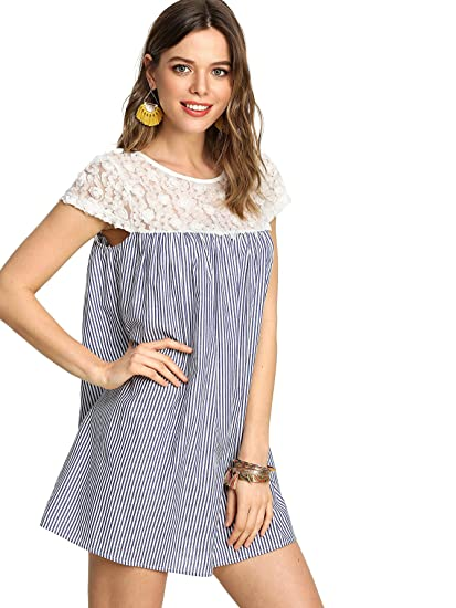 479b578b1f SheIn Women's Casual Lace Patchwork Cap Sleeve Striped Swing Dress Blue  X-Small