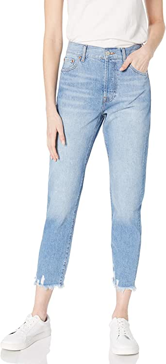 The Drop Women's Audrey Slim High-Rise Straight Fit Button-Fly Jean