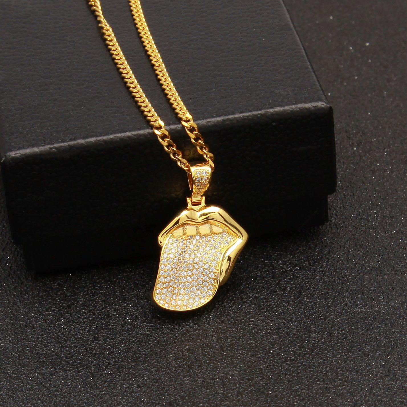 Silver Rolling Stones 18K Gold Inlay Zircon Big Tongue Pendant New European and American Hip hop pop Jewelry