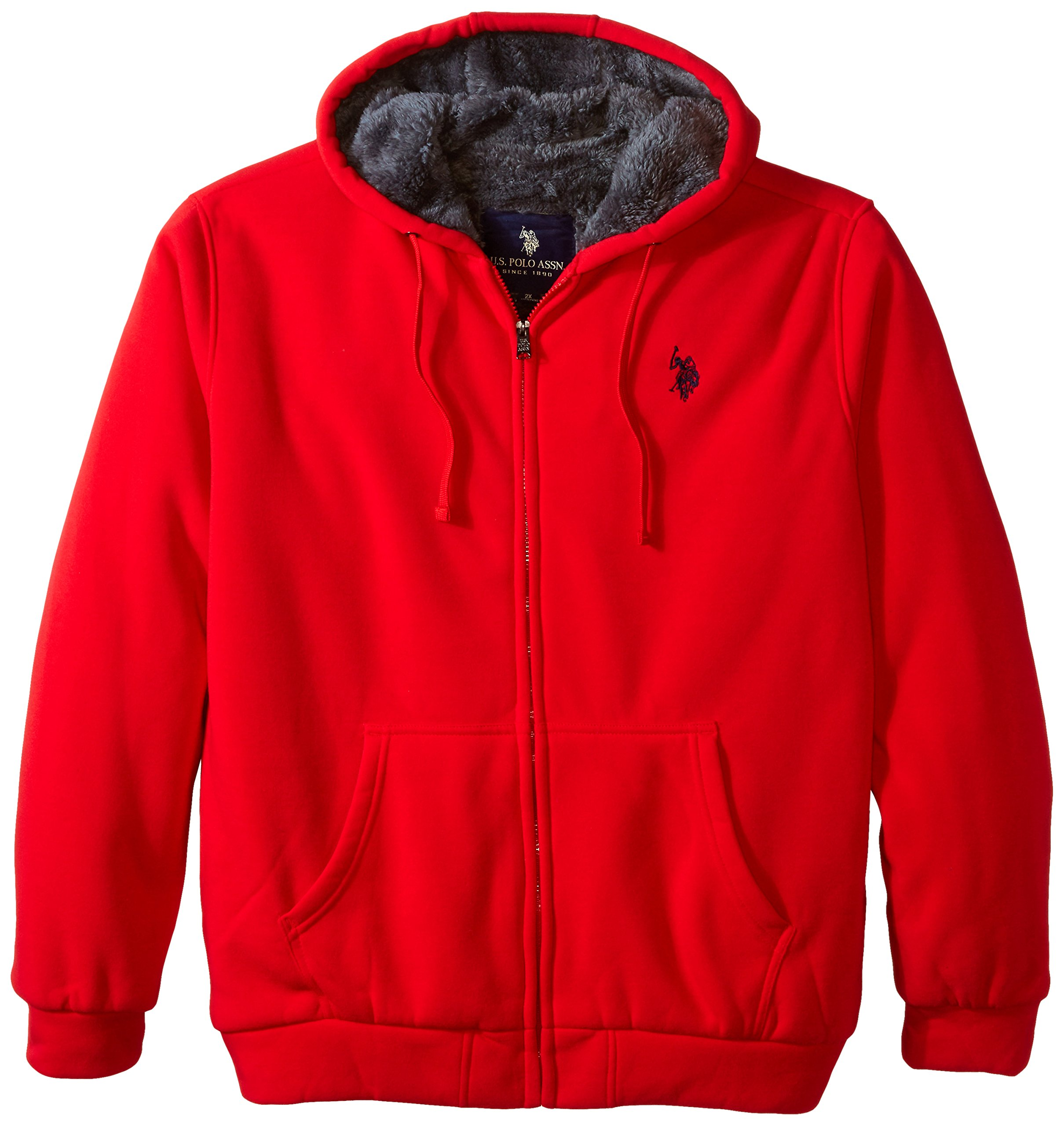 U.S. Polo Assn. Men's Big-Tall Fleece Hoodie with Sherpa Lining, Engine Red, 2X by U.S. Polo Assn.