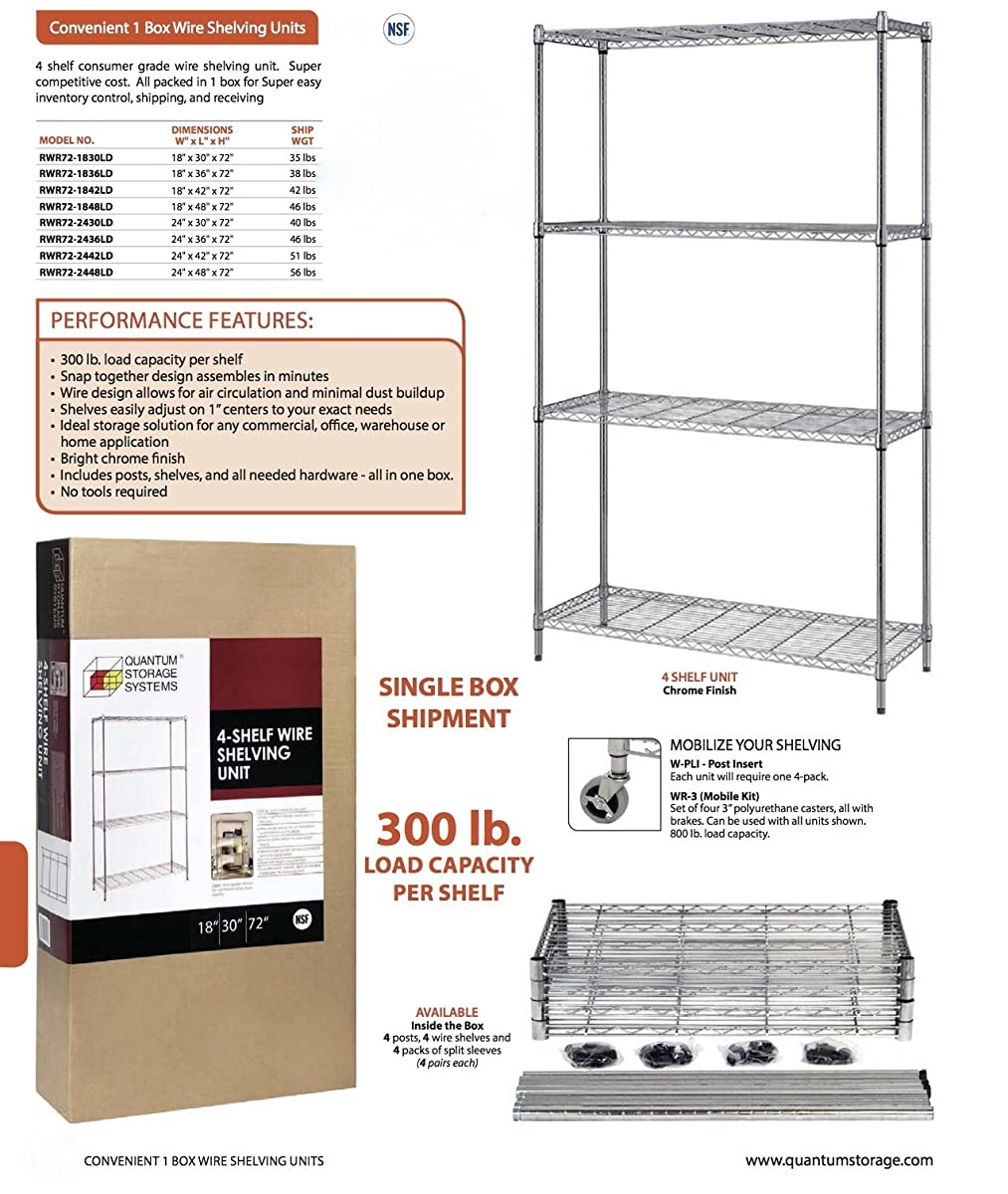 "Quantum Storage Systems RWR72-1848LD 4-Tier Wire Shelving Unit, Chrome Finish, 300 lb. Per Shelf Capacity, 72"" Height x 48"" Width x 18"" Depth"