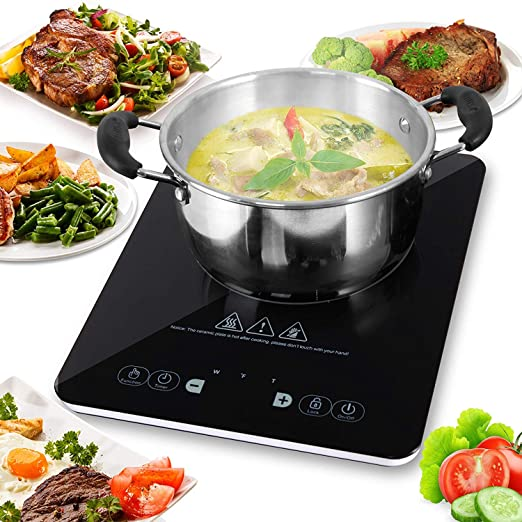plus bas rabais belle qualité nouvelle version Plaque à Induction en Vitrocéramique NutriChef – Table de Cuisson Avec  Brûleur Électrique Portable 2000 Watts - Réchaud Cuiseur à Induction Avec  ...