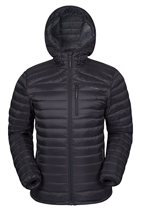 cc31e65941a Mountain Warehouse Henry Mens Down Padded Winter Jacket - Hooded Black  X-Large