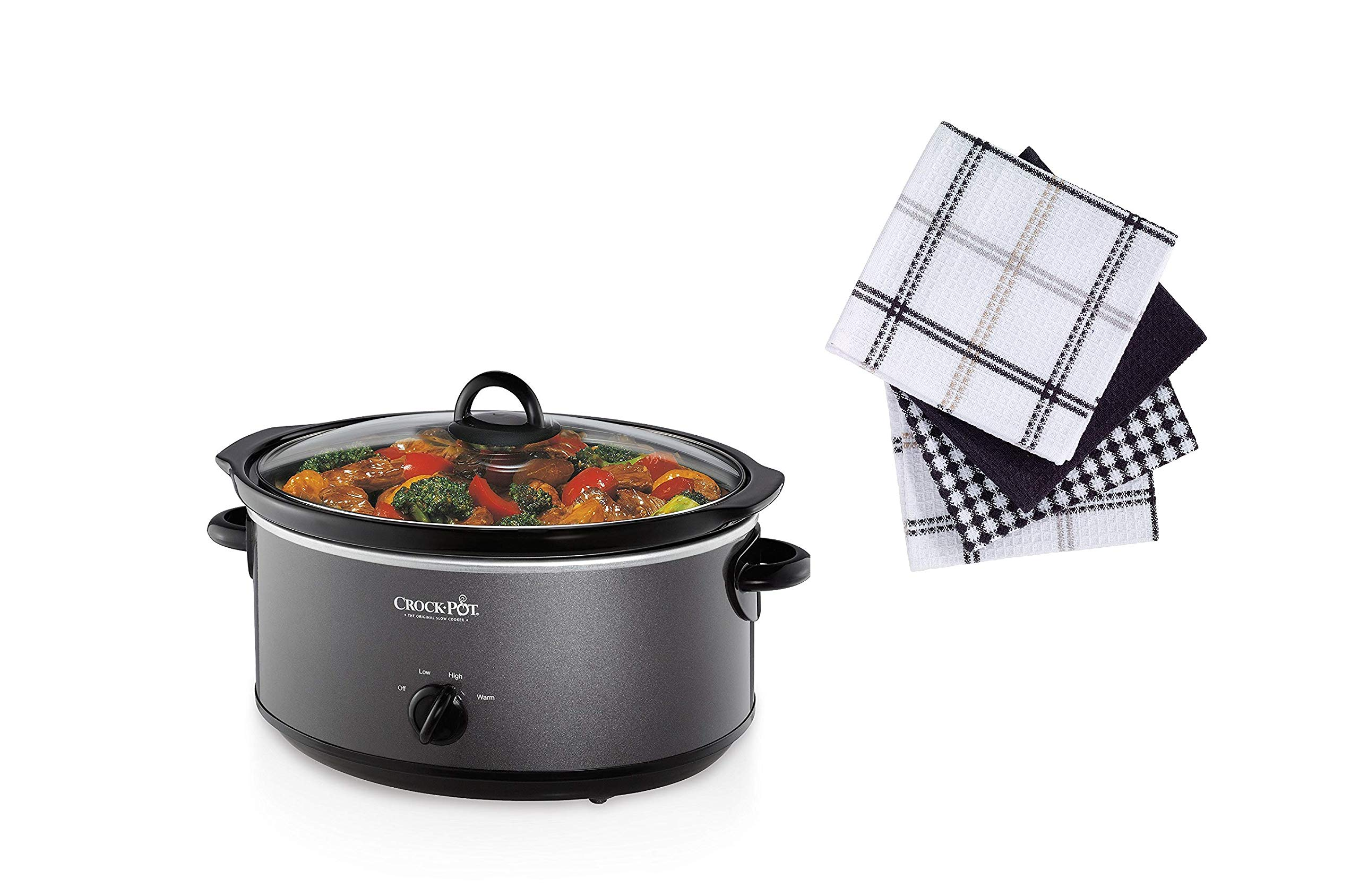 Crockpot SCV700-KC crock pot 7 quarts Charcoal With Towels product image