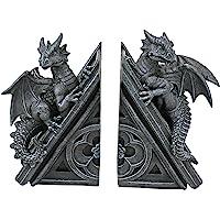 Design Toscano Castle Dragon Gothic Decor Decorative Bookend Statues, 20.25 cm, Set of Two, Polyresin, Grey Stone