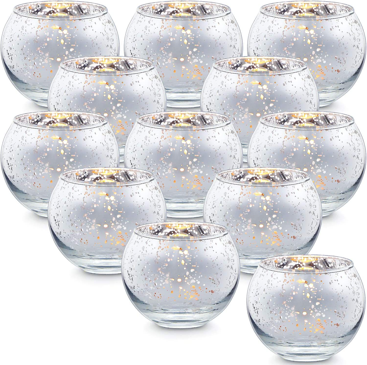 Lamorgift Silver Votive Candle Holders Set of 12 - Mercury Glass Votives Candle Holder - Tealight Candle Holder for Home Decor and Weddings/ Parties Table Centerpieces