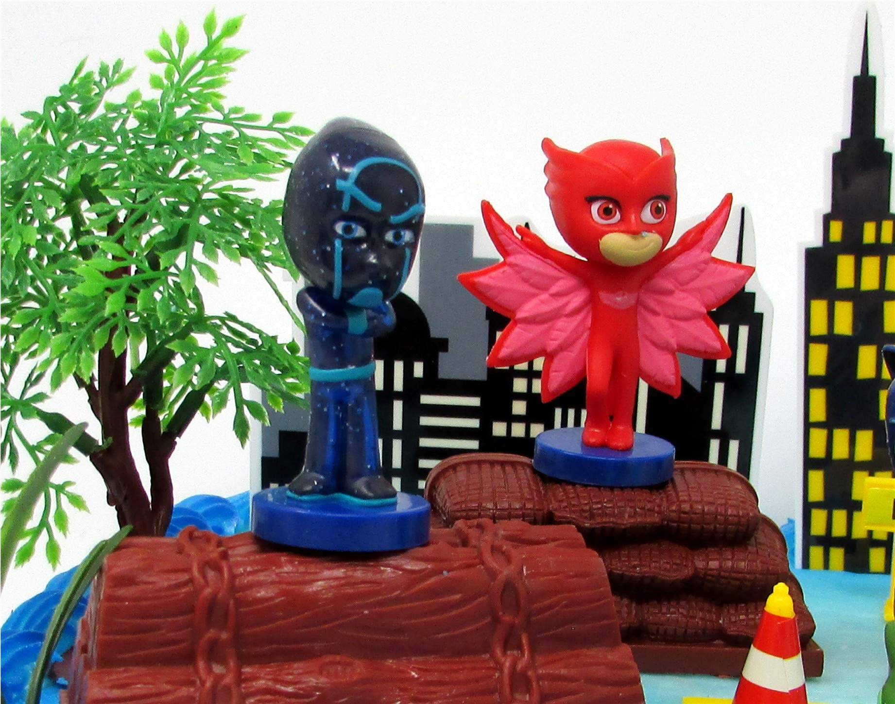 Super Hero PJ MASKS Deluxe Birthday Party Cake Topper Set Featuring Figures and Decorative Accessories by Cake Toppers (Image #6)
