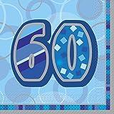 16 Serviettes en papier Age 60 ans bleues 33 x 33 cm