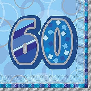 Unique Party- Paquete de 16 servilletas de papel de 60 cumpleaños, Color azul, Edad (28463)