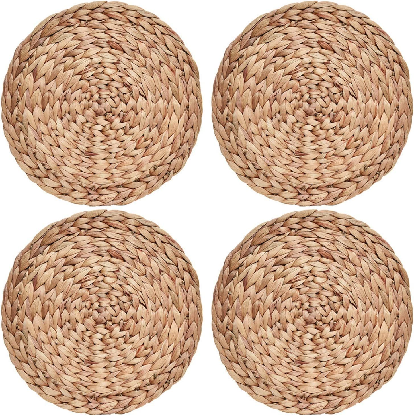 Table Mats Woven Placemats Water Hyacinth Wicker Placemats Seagrass Placemats Placemats for Round Table Diameter 11.8 Inches Round Placemats for Dining Table Round Placemats Set of 8