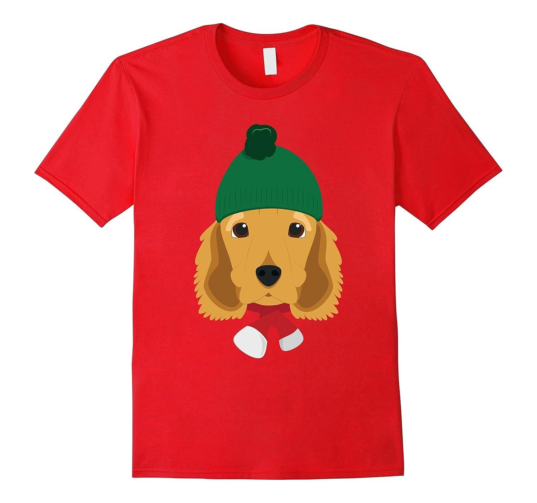 English Cocker Spaniel Dog Wearing A Woolen Cap Xmas Tshirt-ANZ