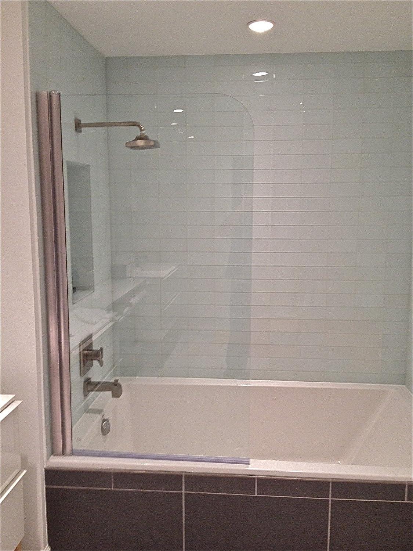 Ark Showers Semi-Frameless Bathtub Shower Screen, Pivot Door, 60 X 33.5, 5/16 (8mm) Glass, Brushed Silver Hinge. Model 6008NPR