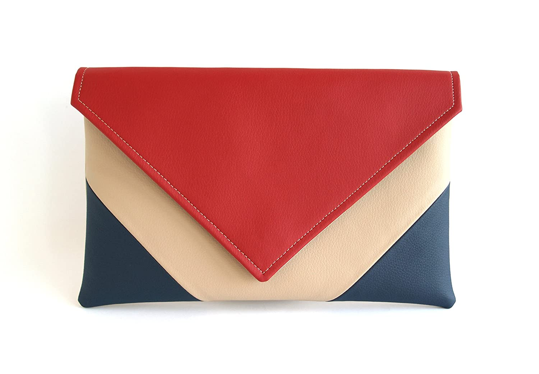 7523736cab Amazon.com: Clutch Bag envelope Handmade Navy blue Red Beige Clutch Purse  Vegan Eco Faux leather Handbag Strap Evening Bag wedding bridesmaid:  Handmade
