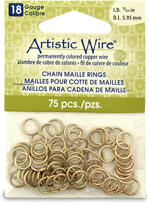 Artistic Wire 18-Gauge Black Chain Maille Rings 15//64-Inch Diameter 100-Pieces