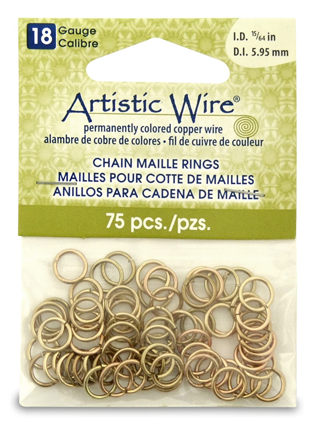Artistic Wire Beadalon 15/64-inch 75 Piece 18-Gauge Non-Tarnish Chain Maille Rings, Brass A314-18-NTB-10