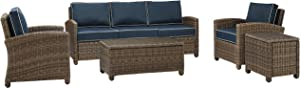 Crosley Furniture KO70051WB-NV Bradenton Outdoor Wicker 5-Piece Set (Sofa, 2 Arm Chairs, Side & Coffee Table), Brown with Navy Cushions