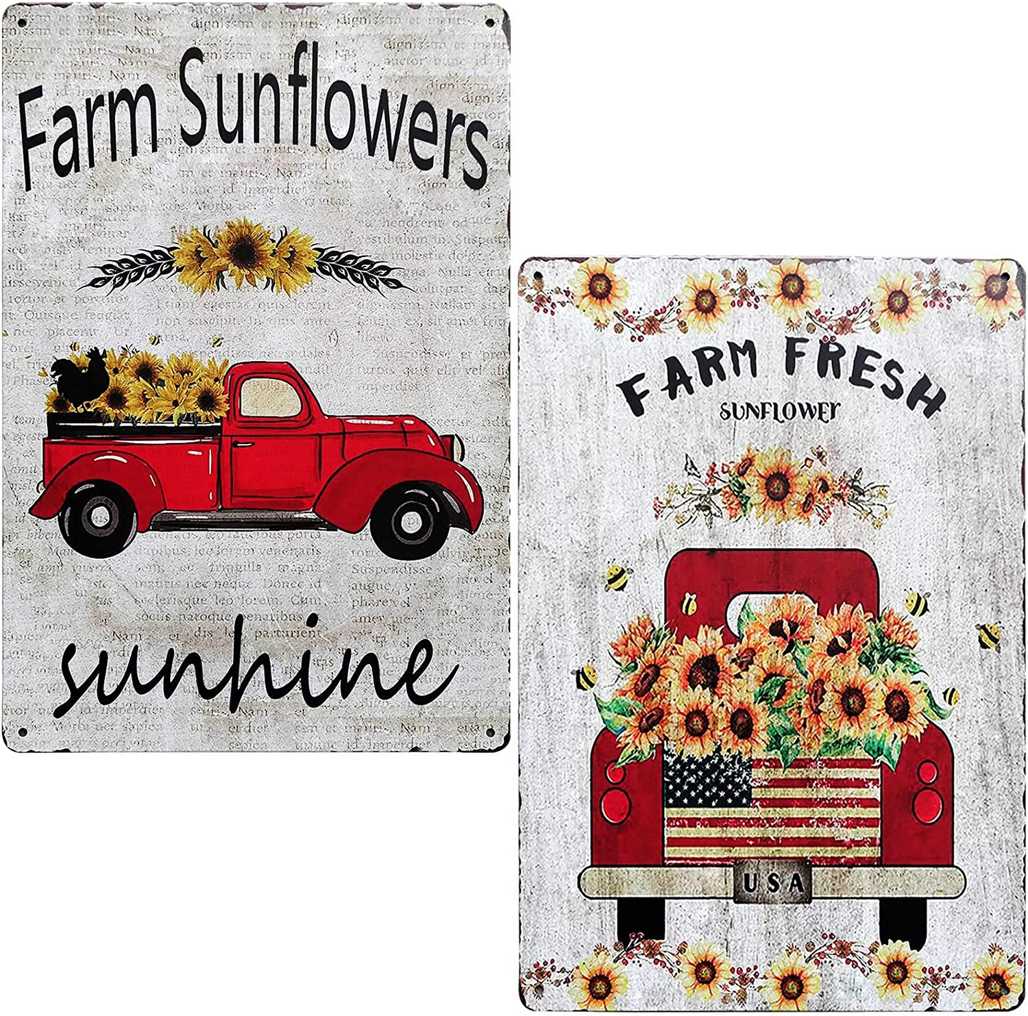 TISOSO Farm Fresh Sunflower with Red Truck Vintage Tin Bar Sign Farmhouse Kitchen Wall Country Home Decor for Living Room Bedroom Decoration 2Pcs-8X12Inch