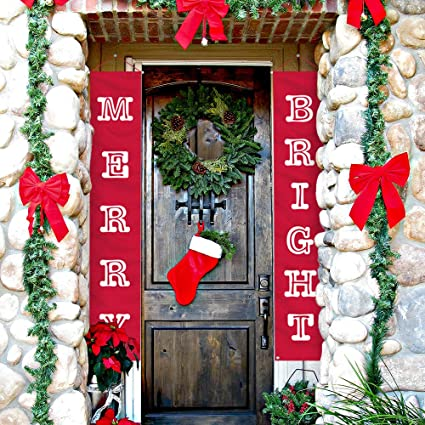 Apartment Christmas Decorations Indoor.Atool Merry Bright Christmas Banner New Year Decorations Outdoor Indoor Merry Bright Porch Sign Red Xmas Decoration Banners For Home Wall Door