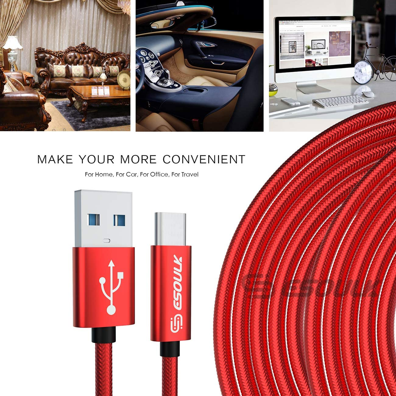 Esoulk 1.7A 10 ft USB Cable for Type-C Red