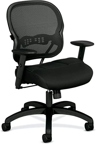 HON Wave Mid-Back Chair – Mesh Office or Computer Chair with Adjustable Arms, Black VL712