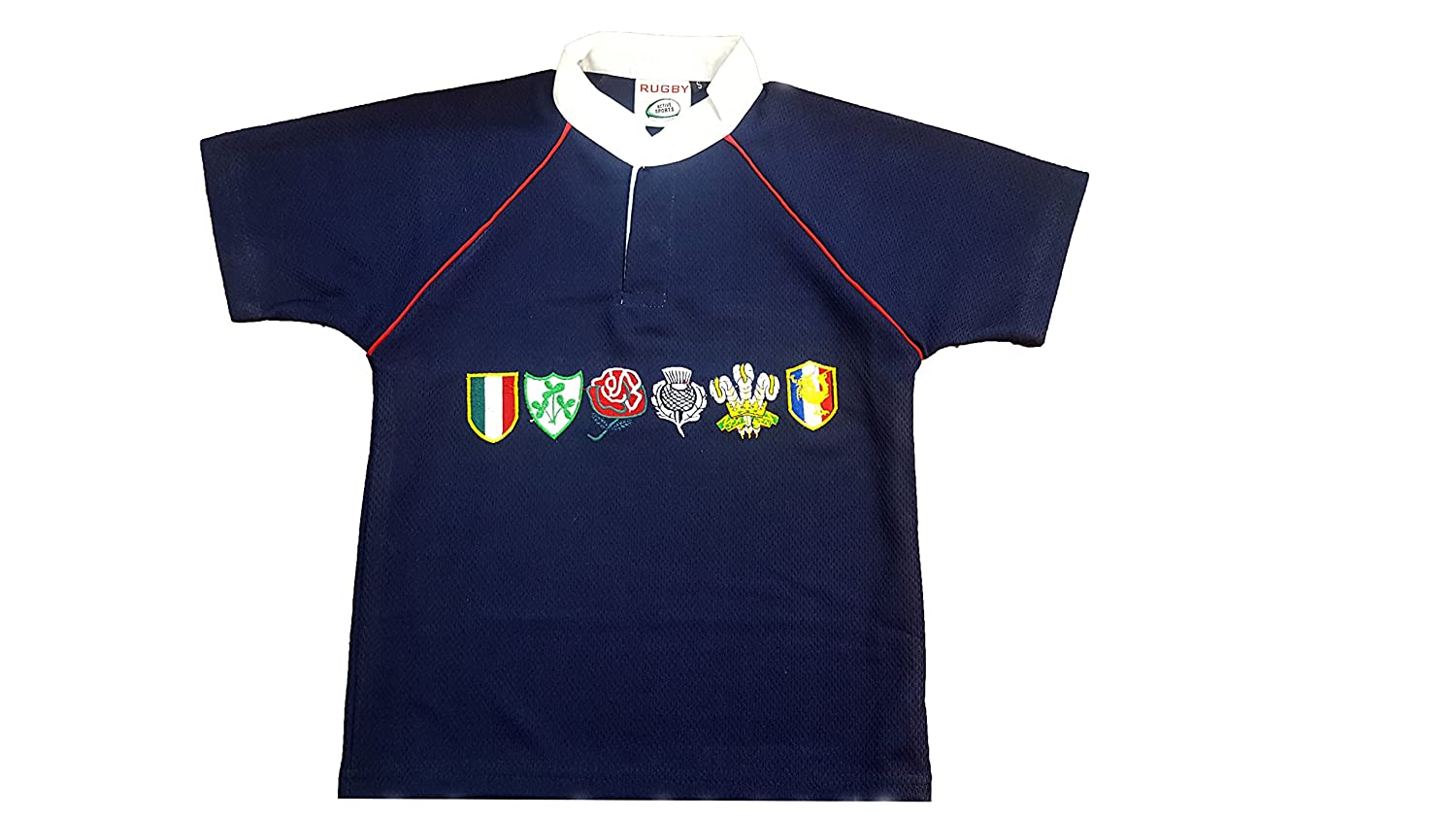 Activewear Children 6 Nation Rugby Shirts Size 3/4Y to 11/12 Year (L 7/8Y, Navy) NMK6NRS01