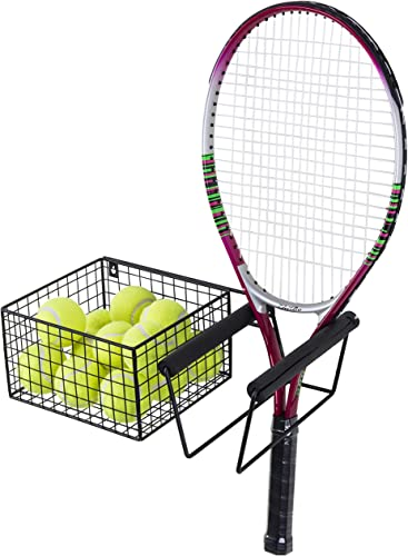 MyGift Wall Mounted Metal Tennis Racket Holder with Ball Storage Basket