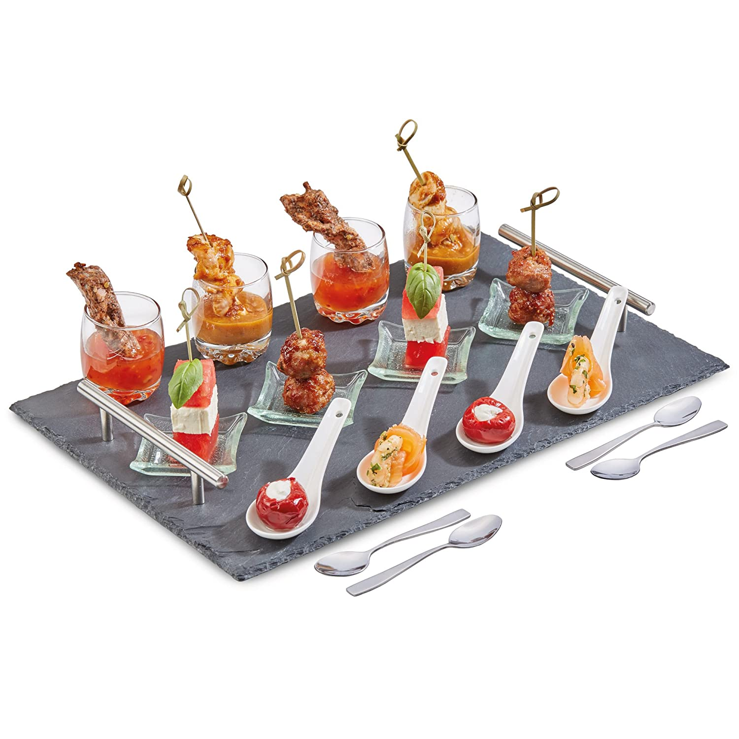 Andrew James Canape Slate Serving Platter Plate with Handles | 17 Piece Parties Set Includes Tray with Dishwasher Safe Plates for Food Tapas Amuse-Bouche Mini Desserts Canapes and Appetisers 5060415766248
