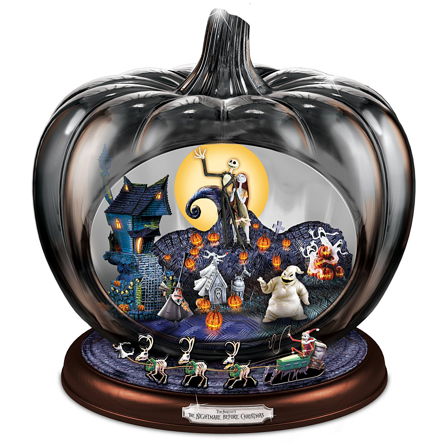 Disney The Nightmare Before Christmas Pumpkin Sculpture: Lights Music And Motion by The Bradford Exchange by Bradford Exchange