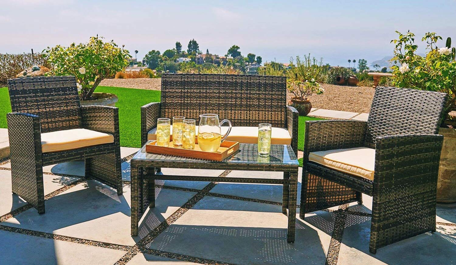 OUTROAD Outdoor Furniture 4 Piece Grey Wicker Patio Sofa Set - All Weather Cushioned Wicker Love Seat with Glass Top Table and Two Armchairs - Premium Comfort - This patio set comes with 1 loveseat, 2 chairs and tempered glass top table. Great for a small group get together, relax and enjoy a moment of peace. Build a cozy corner for a high tea or a magazine. Sturdy and durable - Powder-coated steel with hand woven weather-resistent PE ratten wicker for the best stability and extended life cycle Quick Assembly - All hardware and tools are included for a quick and pleasant assembly. Easy project for a valuable family exercise. - patio-furniture, patio, conversation-sets - 81hBwF21ONL -
