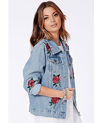 Flower embroidered denim jacket spring wear trucker jackets for women