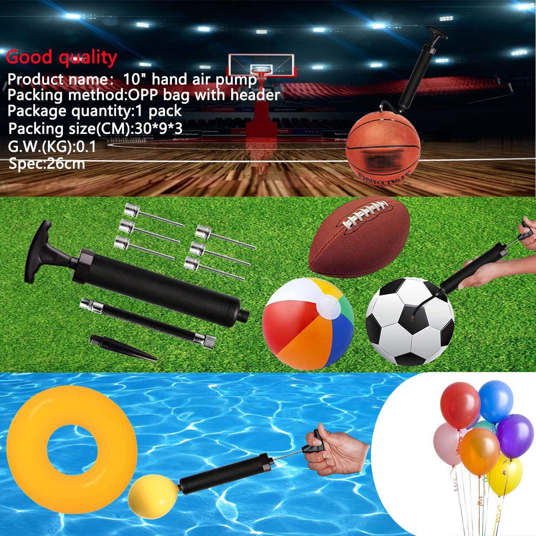 basket-ball Pompe /à billes avec 6 aiguilles water-polo rugby Pompe /à air efficace pour ballon de football 1 buse et 1 tuyau flexible volley-ball
