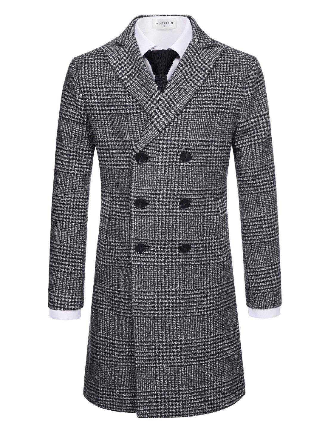 NEARKIN (NKNKDC7052) Mens Checker Double Breasted Peak Lapel Wool Blend Long Coat WHITEBLACK US XXXL(Tag size 3XL) by NEARKIN