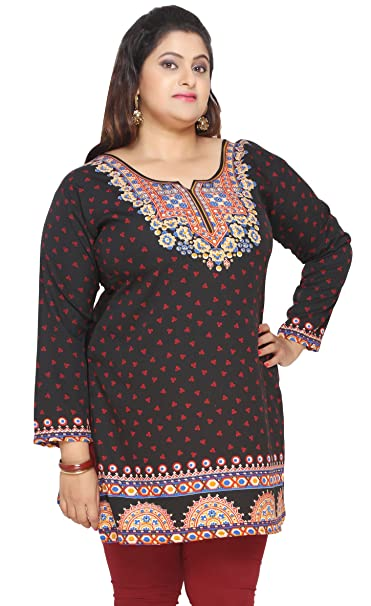 0de2384e712 Amazon.com: Maple Clothing Women's Plus Size Indian Kurtis Tunic Top ...