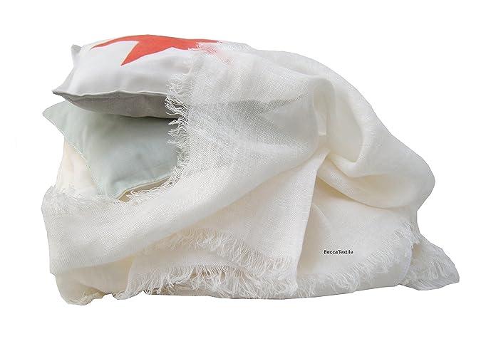 Couverture en lin doux, Lin blanc prélavé