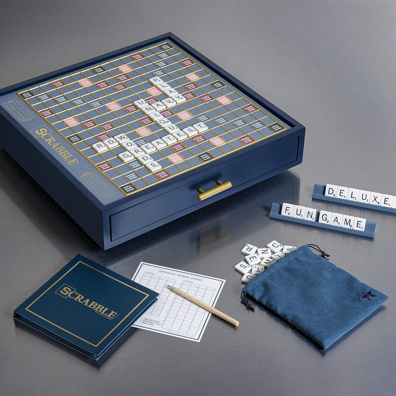 Scrabble Navy Luxe Edition - Armario de Madera para Juegos: Amazon.es: Juguetes y juegos